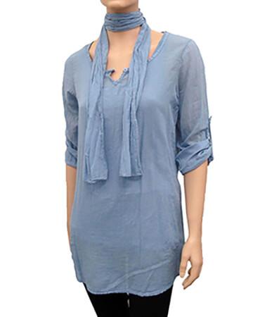 Damen Tunika Bluse 3-tlg., blau