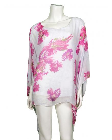 Tunika Bluse aus Seide, weiss pink