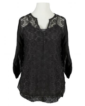 Tunika Bluse aus Spitze 2-tlg., grau