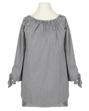 Tunika Bluse Carmen Ausschnitt, schwarz