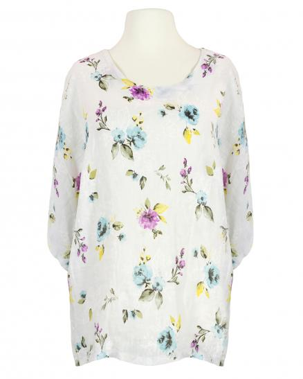 Tunika Bluse Floral, weiss