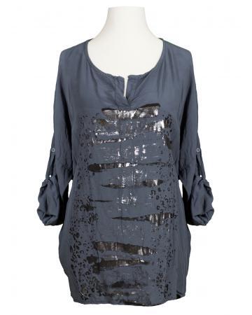 Tunika Bluse mit Print, grau (Bild 1)