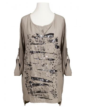 Tunika Bluse mit Print, schlamm