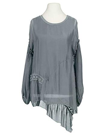 Tunika Bluse mit Seide, grau