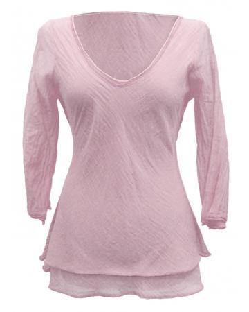 Tunika Bluse mit Seide, rosa (Bild 1)