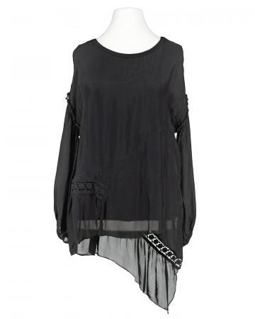 Tunika Bluse mit Seide, schwarz