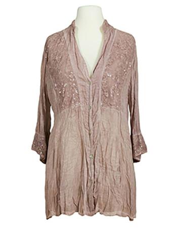 Damen Tunika Bluse mit Spitze, rosa
