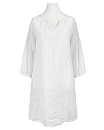 Tunika Kleid aus Leinen, weiss