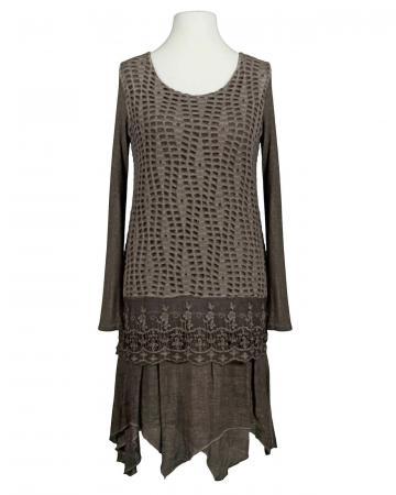 Tunika Kleid mit Spitze, braun