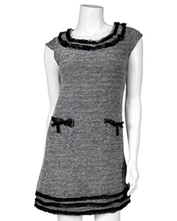 Tunika Kleid mit Spitze, grau
