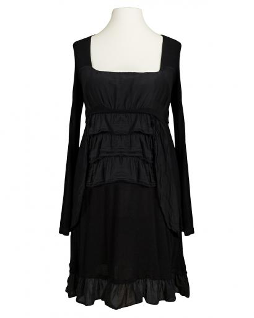Tunika Kleid mit Volant, schwarz