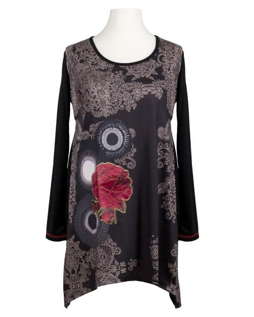 Tunika mit Print, schwarz