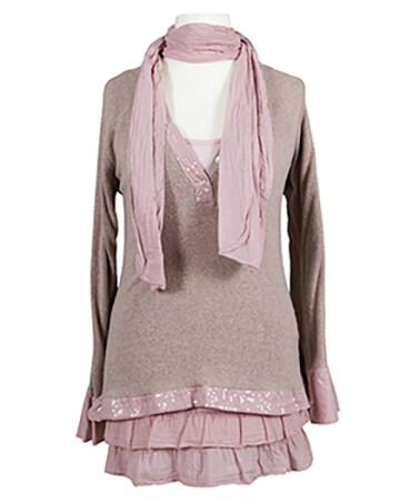 Tunika mit Schal 3-tlg., rosa (Bild 1)