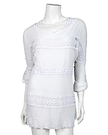 Tunika Shirt mit Spitze 2-tlg., weiss (Bild 1)