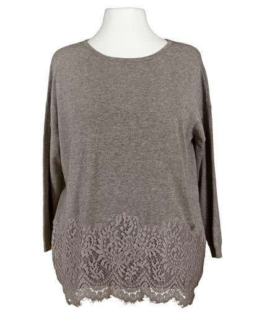 Tunika Pullover mit Spitze, braun
