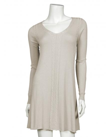 Long Pullover Zopfmuster, beige (Bild 1)