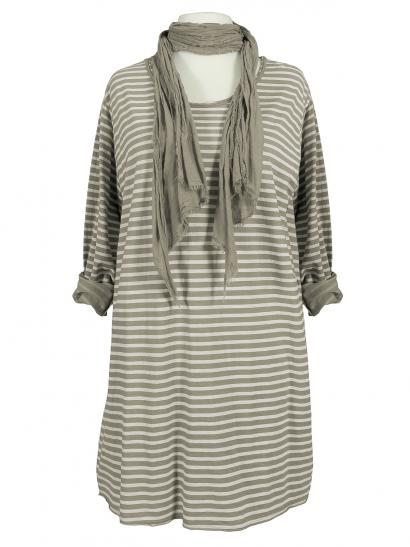Long Shirt mit Schal, taupe