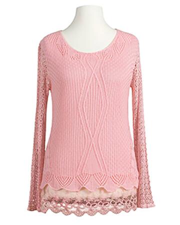 Tunika Shirt mit Spitze, rosa