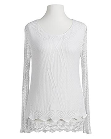 Tunika Shirt mit Spitze, weiss