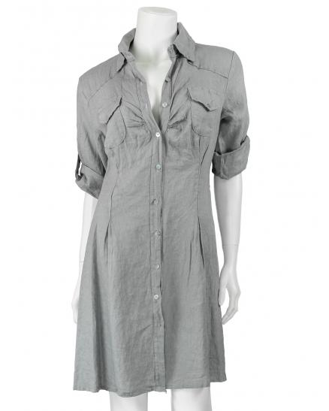Tunika Bluse aus Leinen, grau