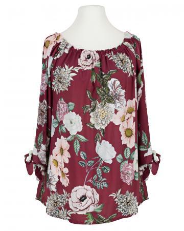 Tunikabluse Blumenprint, bordeaux
