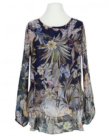 Tunikabluse Floral mit Seide, dunkelblau