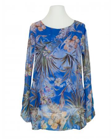 Tunikabluse Floral mit Seide, königsblau