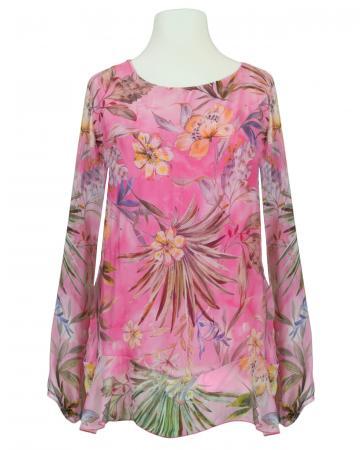 Tunikabluse Floral mit Seide, pink