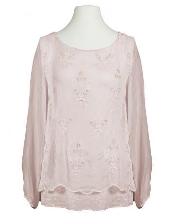 Tunikabluse Lochstickerei, rosa