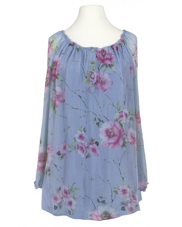 Tunikabluse Seide Floral, blau