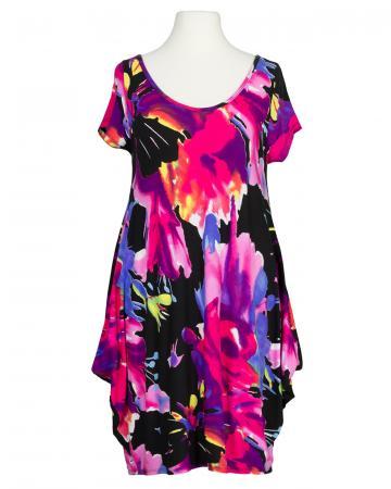Tunika Kleid Print, schwarz