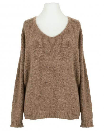 V-Ausschnitt Pullover Grobstrick, camel