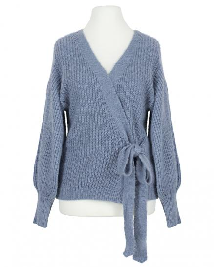 Wickel Strickjacke, blau