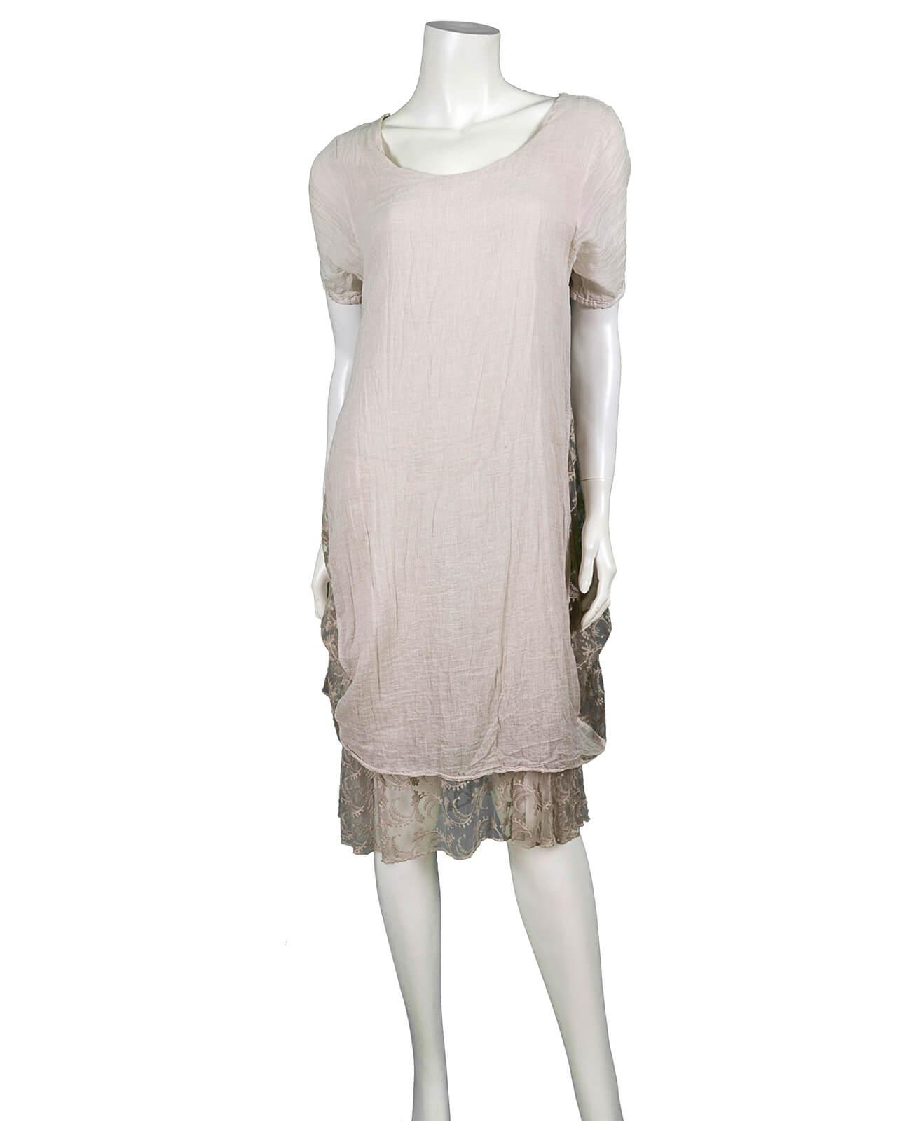 Kleid mit Spitze, beige