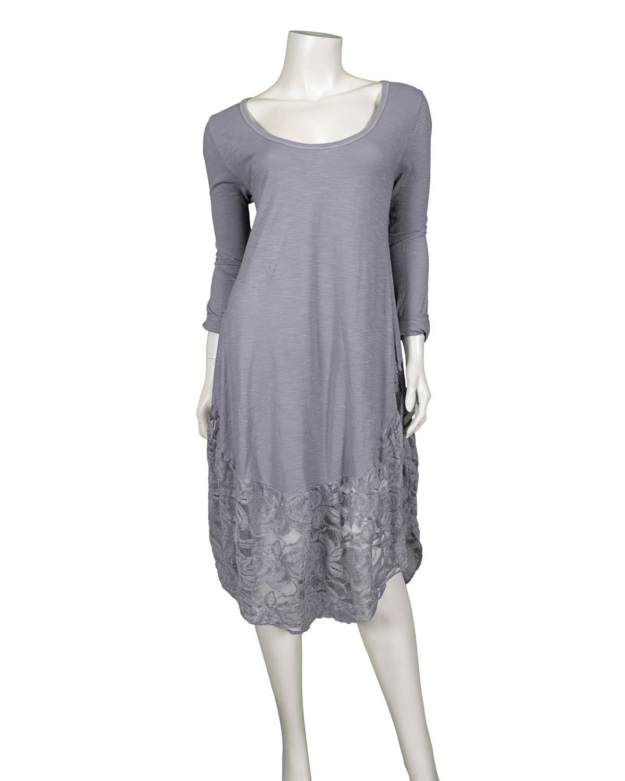 Kleid mit Spitze, grau | Diana