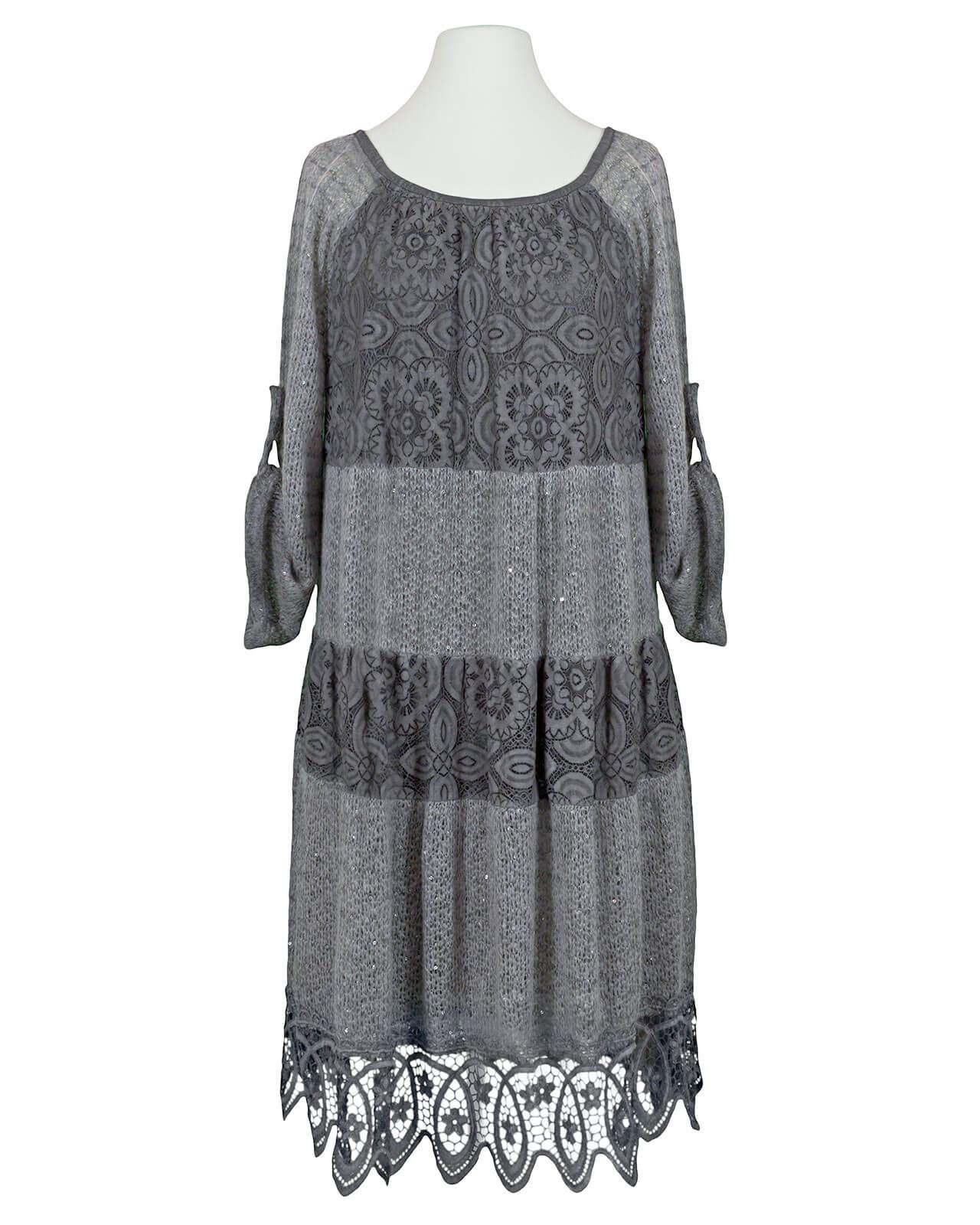 Kleid mit Spitze, grau von Spaziodonna | meinkleidchen