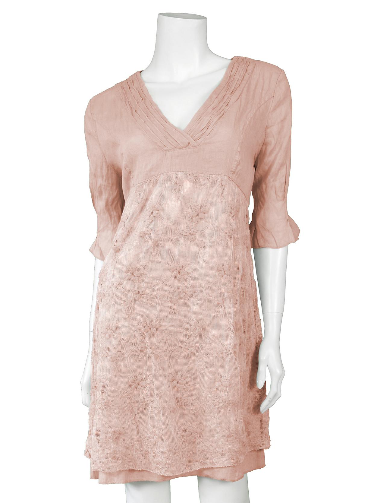 sale retailer bc539 1f4f8 Leinen Tunika mit Spitze, rosa