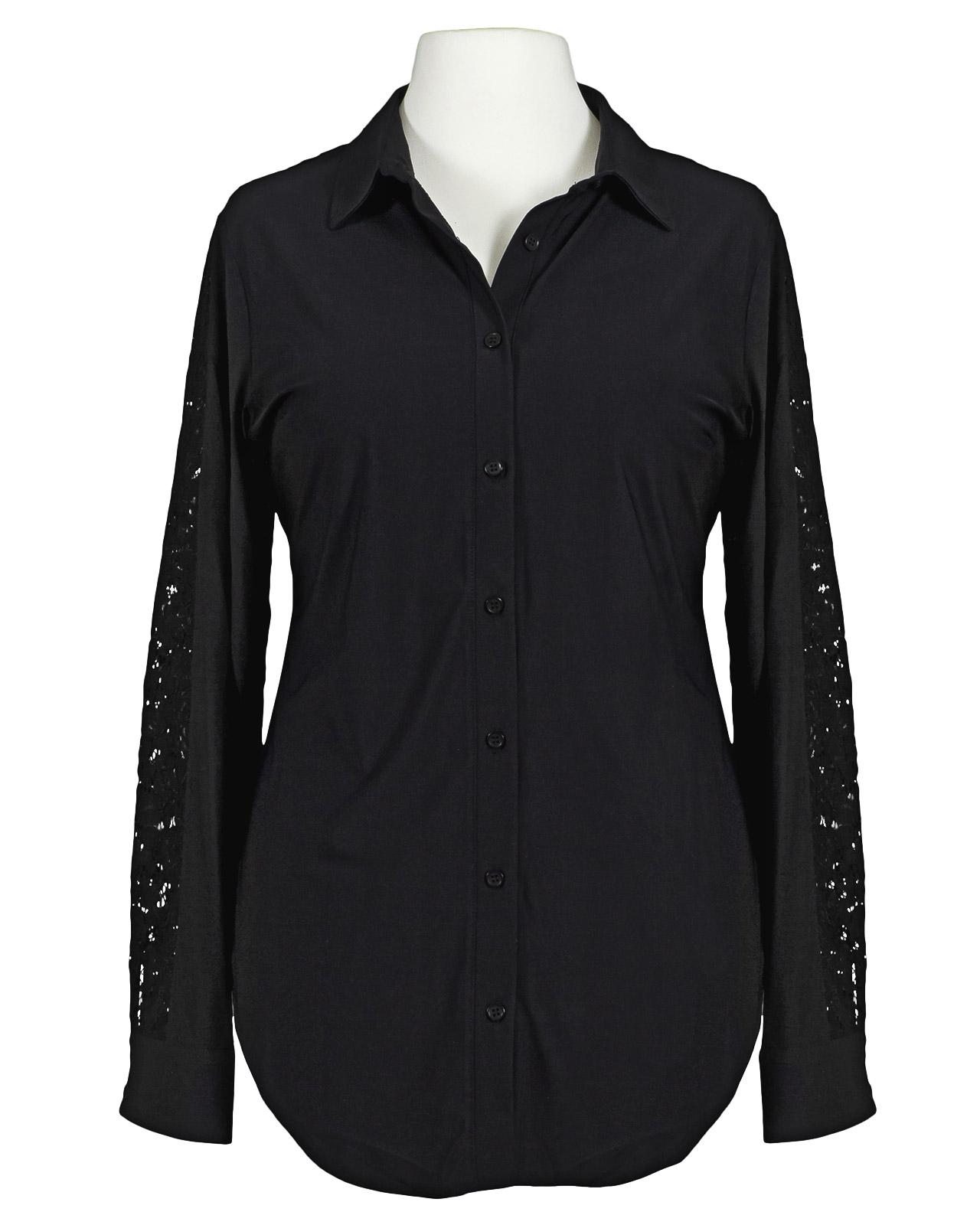 stretch bluse mit spitze schwarz esvivid. Black Bedroom Furniture Sets. Home Design Ideas