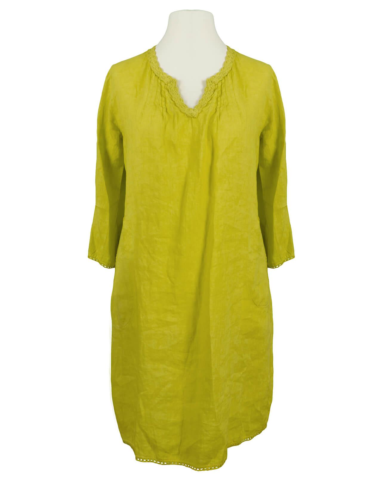 on sale 6ebd4 c5304 Tunika Kleid aus Leinen, gelb
