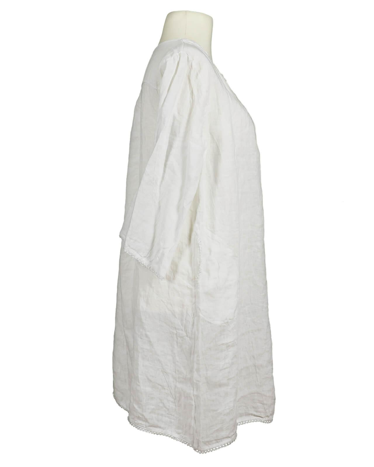 Tunika Kleid aus Leinen, weiss   Puro Lino