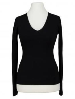 Basic Pullover V Ausschnitt, schwarz
