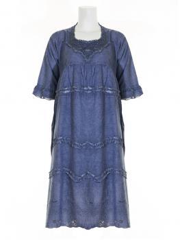 Baumwollkleid Lochstickerei, blau
