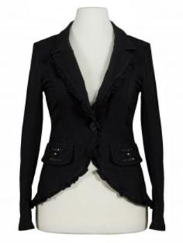 Blazer Rüschen, schwarz von fashion made in italy von fashion made in italy