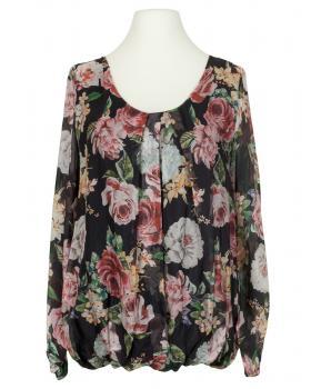Bluse Floral mit Seide, schwarz von Made in Italy