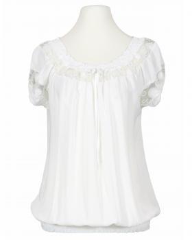 Bluse mit Spitze, weiss von fashion made in italy