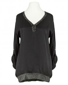 Blusenshirt mit Satin, schwarz