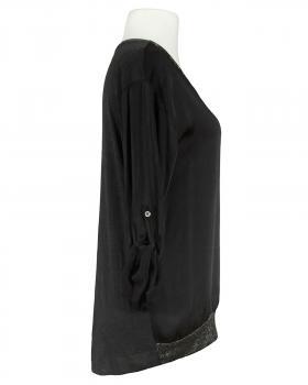 Blusenshirt mit Satin, schwarz (Bild 2)