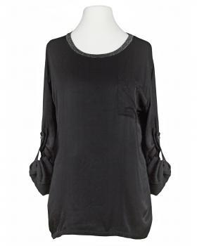 Blusenshirt mit Seide, schwarz von Spaziodonna
