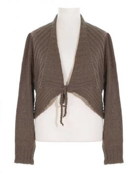 Damen Bolero Strickjacke, coffee