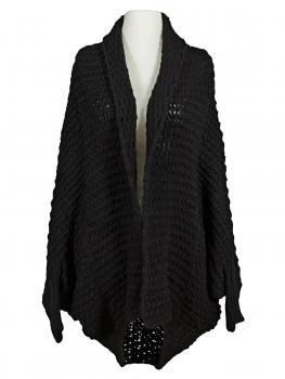 Cape Strickjacke Grobstrck, schwarz